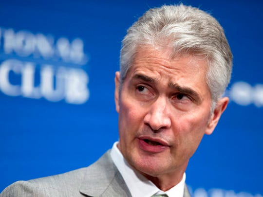 FILE - In this May 15, 2015, file photo, United Airlines Chairman, President and CEO Jeff Smisek, speaks during a panel discussion on unfair international competition at the National Press Club in Washington. Smisek stepped down in 2015 amid an investigation into whether United flew a route between Newark, N.J., and Columbia, S.C., to curry favor with the chairman of the agency that operates New York-area airports. He received $4.9 million in cash severance, along with millions more in stock grants. He also received lifetime flight benefits.