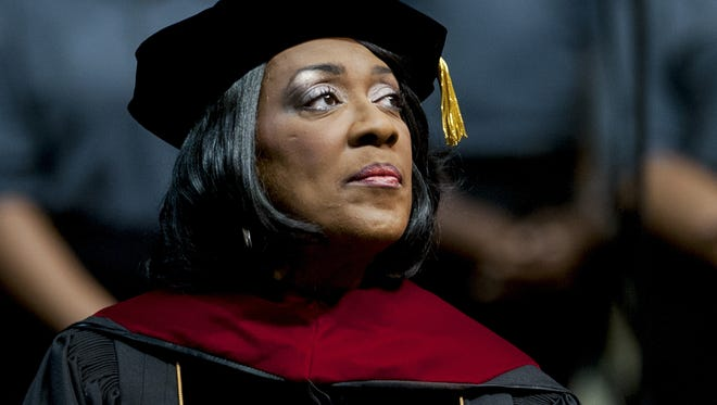 Boyd Alabama State University President Gwendolyn Boyd at ASU's annual Fall Convocation in the Dunn-Oliver Acadome on the ASU campus in Montgomery, Ala. on Thursday September 22, 2016.