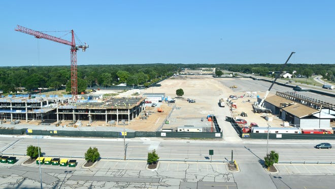 Titletown District construction site on Aug. 9. Lodge Kohler is on the left, and Hinterland Brewery on the right.