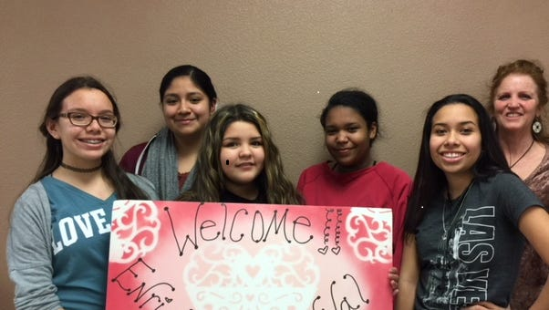 Promoting the Valentine Carnival are, pictured from left, Miranda Vasquez, Victoria Baca, Destiny Villegas, Bella Collings, Minnie Ramirezand Mrs. Pottorff.