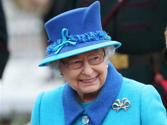 Britain's Queen Elizabeth II attends the opening ceremony for the Borders railway route at Tweedbank station, Scotland, Wednesday Sept. 9, 2015. The Queen has become the longest ever reigning monarch in British history surpassing Queen Victoria who served for 63 years and seven months. (AP Photo/Scott Heppell)