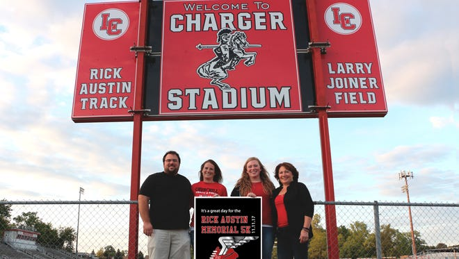 Proudly honoring the memory of Rick Austin by organizing a 5k run/walk in his honor are (from left) son Travis, daughter-in-law Becca, daughter Kaylin and wife Annette. The debut race is Nov. 11.