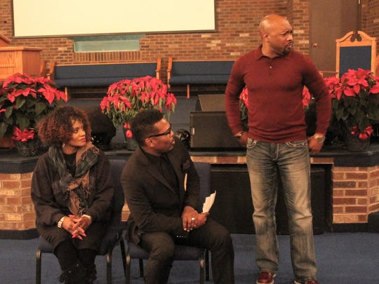 """From left to right: Bonita Shelby, Bishop Don Shelby and Tony Grant rehearse a scene for """"The Return of Christmas Love"""" Tuesday night at Burning Bush International Ministries in Westland. The play, being performed this weekend in Detroit, was written by 13-year-old Livonia girl Andreana Beard."""