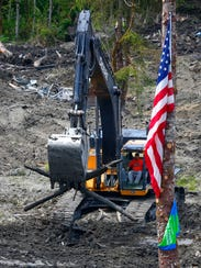 Heavy equipment at the site of the Oso, Wash., mudslide