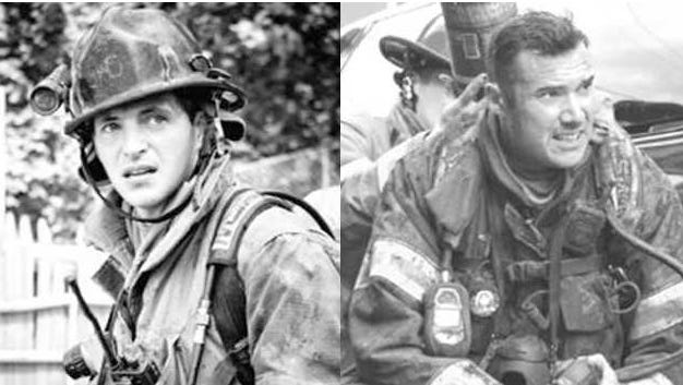 York firefighters Ivan Flanscha, left, and Zachary Anthony died in the line of duty on March 22, 2018, after part of the Weaver Organ and Piano building collapsed as they worked to put out hot spots the day after a massive fire there.