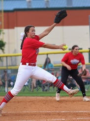 Tipton-Rosemark's Rachel Whitley pitches in the Billy