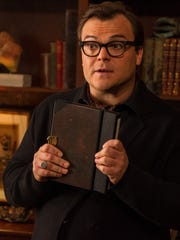 """In this photo provided by Columbia Pictures, Jack Black who stars as R.L. Stine, appears in a scene in Columbia Pictures' """"Goosebumps."""""""