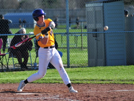 Hagerstown's Owen Golliher swings at a pitch during