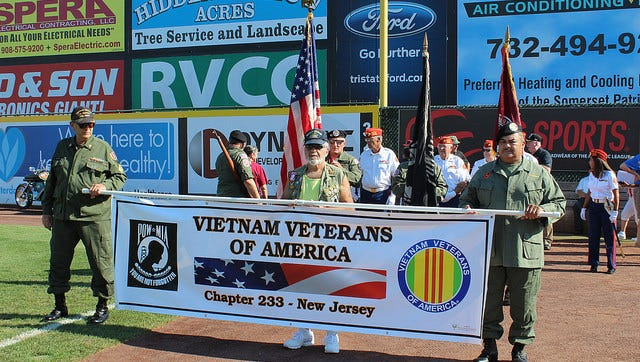 The highlight of the annual Veterans of America Day at the TD Bank Ballpark in Bridgewater is the parade of veterans.