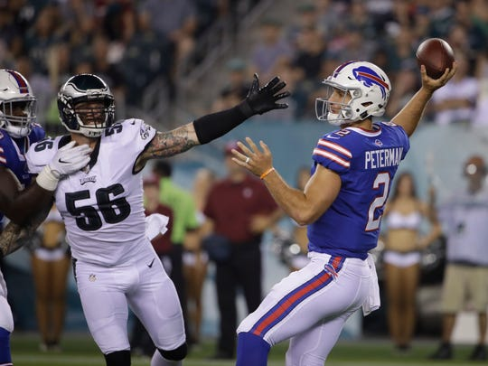 Rookie QB Nathan Peterman had another nice outing, going 10 of 20 for 167 yards against Eagles. But coach Sean McDermott had it clear: Tyrod Taylor is the starter.