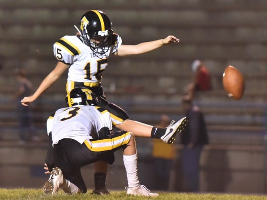 Taylor kicker Delaney Day connects for a PAT in the