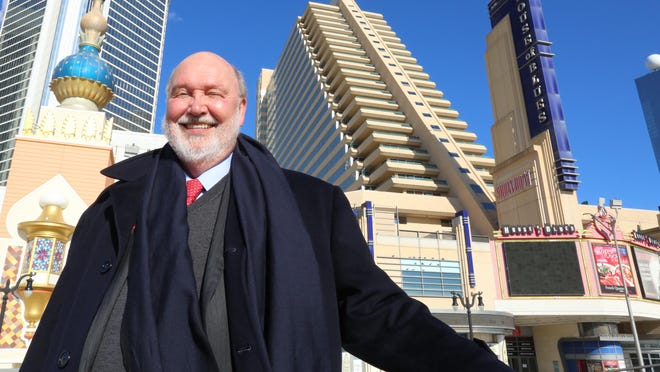 This Feb. 6, 2015 photo shows Stockton University president Herman Saatkamp standing in front of the Showboat Casino in Atlantic City.