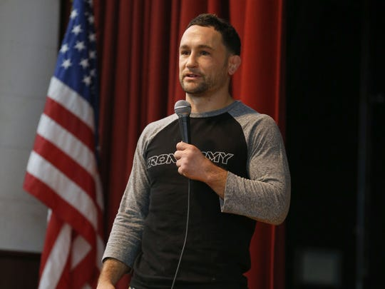 UFC fighter Frankie Edgar, speaks during Ocean County Prosecutor's forum about the opiate and heroin drug epidemic facing the region.