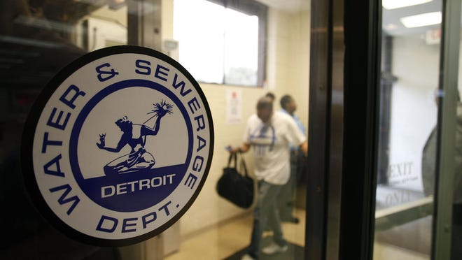 Detroit Water and Sewerage Department logo is displayed on a window in Detroit, Michigan.