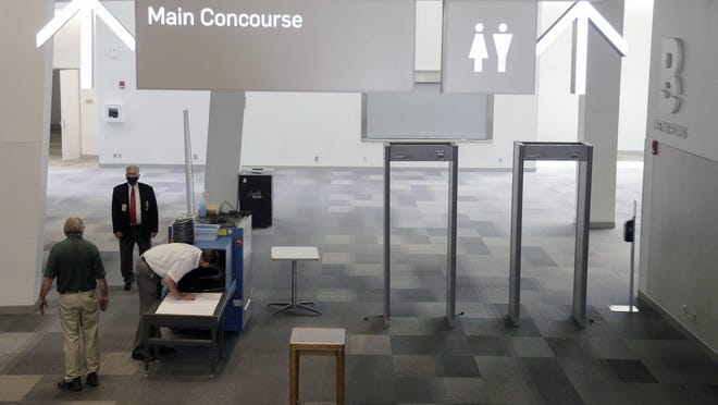 Metal detectors and an x-ray machine were moved from Franklin County Municipal Court by Premier Office Movers to the Greater Columbus Convention Center on Wednesday, May 27, 2020. The convention center will host municipal court proceedings starting next week.