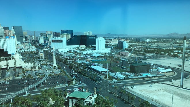 A view from a guest room at the Mandalay Bay on Oct. 8, 2017, one week after a man shot concertgoers across Las Vegas Boulevard from his 32nd-floor suite.