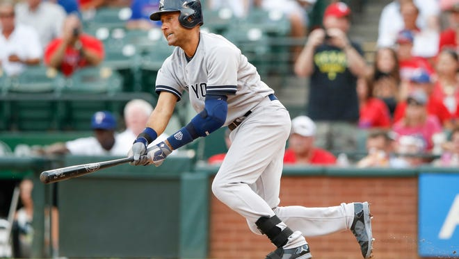 Derek Jeter passed Carl Yastrzemski to move into seventh on the all-time hits list Monday night.