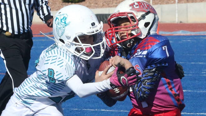The Southeast T-Birds and the El Paso Bandits played for the Henry Stokes Little Bowl trophy in the Minor division in November at Canutillo High School.