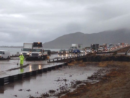 Portions of the 101 freeway flood because of rain Jan.