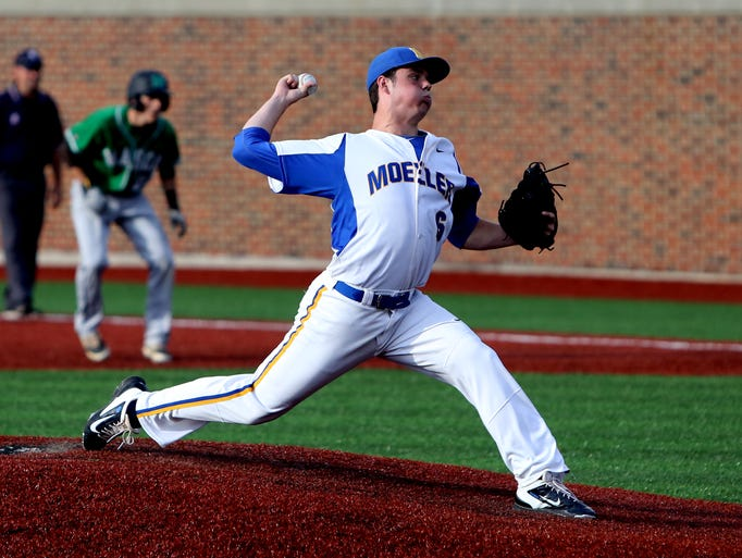 Moeller pitcher Joe Vranesic throws a pitch against
