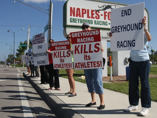 Scenes from a dog racing protest outside Naples Fort Myers Greyhound Racing & Poker in Bonita Springs. The protesters were calling for the end of greyhound racing.