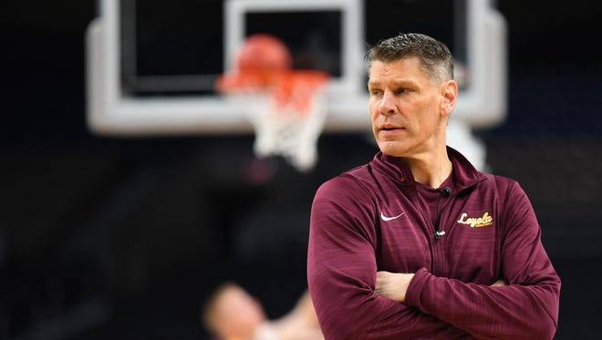 Mar 30, 2018; San Antonio, TX, USA; Loyola Ramblers head coach Porter Moser during practice before the Final Four of the 2018 NCAA Tournament at Alamodome. Mandatory Credit: Robert Deutsch-USA TODAY Sports