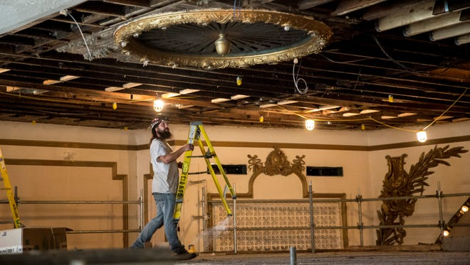 Construction crews continue renovation work on the Muncie Civic Theatre Aug. 22 for the theatre's massive renovation project. The project will add a sprinkler system, additional studios, a smaller theater, new bathrooms and more.