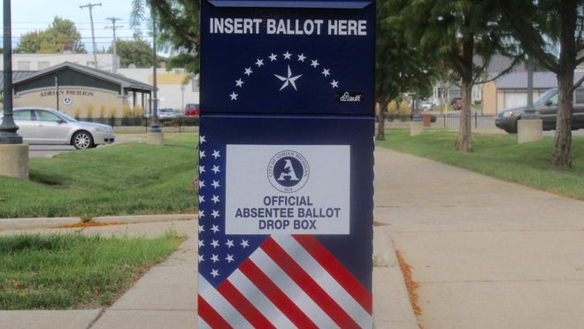 The city of Adrian installed a ballot drop box last week at city hall, off the Toledo Street entrance. Absentee ballots can be dropped off and obtained at city hall.