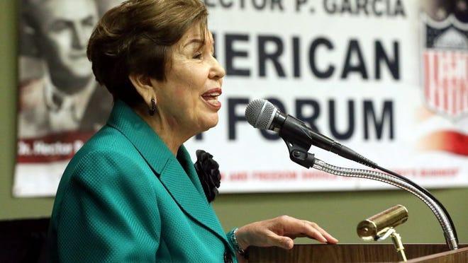 GABE HERNANDEZ/CALLER-TIMES Del Mar College regent Elva Estrada talks during Dr. Hector P. Garcia Texas State Recognition Day on Wednesday.