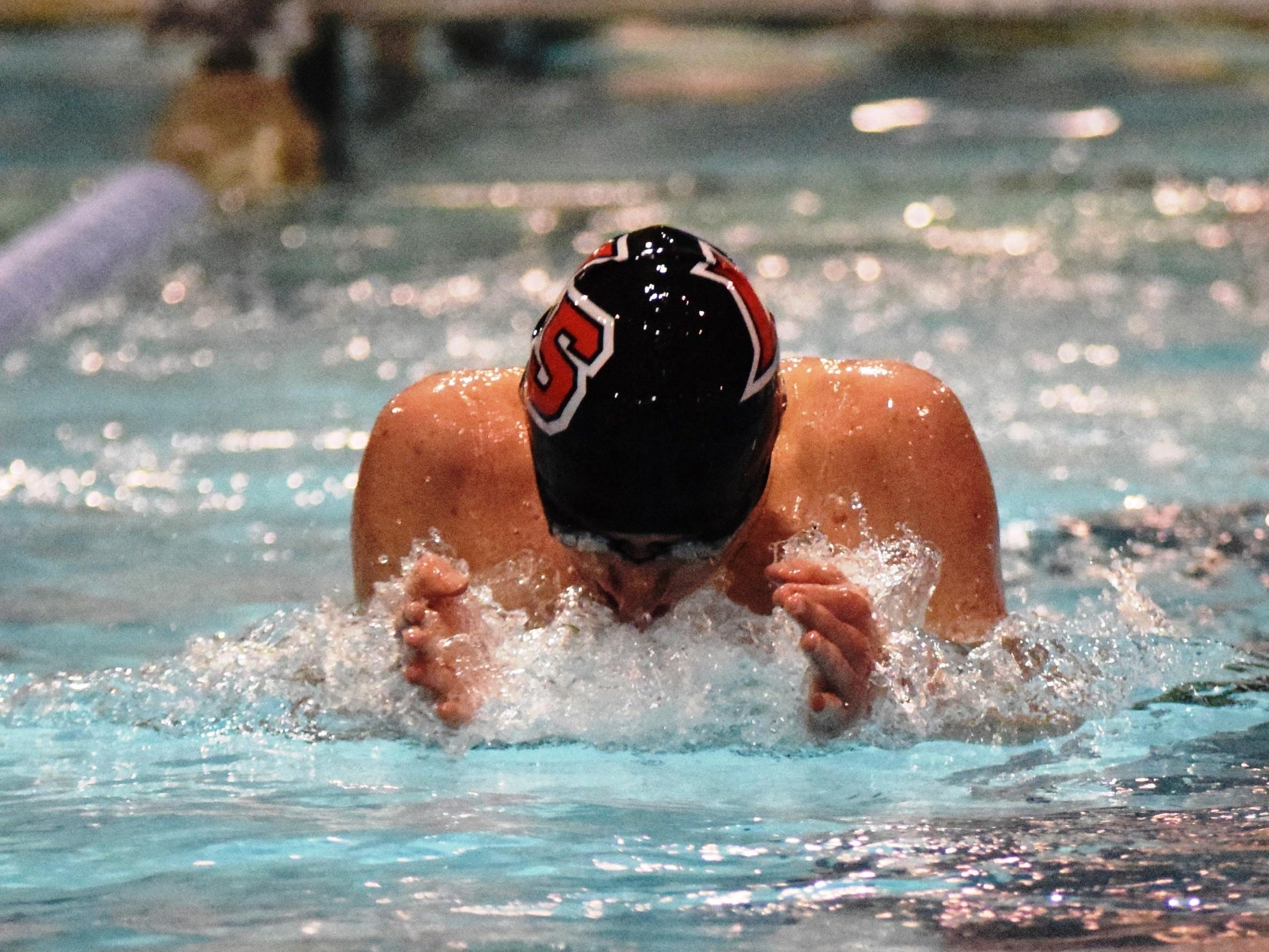 Cole Trotta of La Salle shows full concentration during the boys 200-yard individual medley in last season's GCL swim meet.