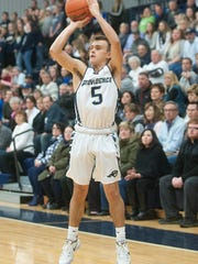 Providence guard Cullen Ebert is alone to shoot a 3-pointer.