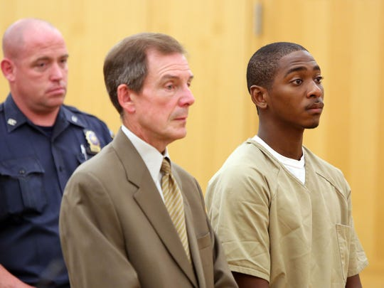Garth O'Neil Cole, 23, with his attorney Kevin Griffin by his side, pleaded guilty to a weapons possession charge in his role in the Michael Nolan shooting at Westchester County Court Aug. 3, 2016, in White Plains.