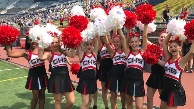 Canton's pom squad gets into the spirit before the Battle at the Big House.