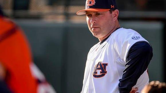 Auburn head coach Butch Thompson in pre-game warmups.