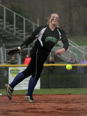 Clear Fork's Maddelyn Wine pitches during a home game against Galion on April 18.