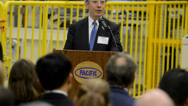 President/CEO of Pacific Industries Shinya Ogawa speaks Tuesday at the grand opening of Pacific Manufacturing Tennessee Inc.