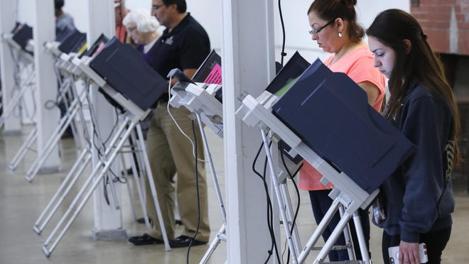 Voters cast ballots May 3 at the Tippecanoe County 4-H Fairgrounds in Lafayette.