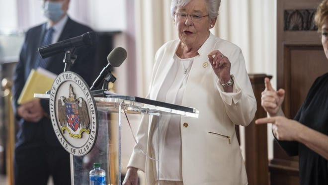 Alabama Gov. Kay Ivey speaks at the State Capitol on May 8. Ivey currently is considering whether or not to extand the state's 'safer-at-home' order that expires Friday.