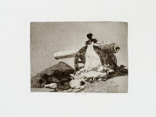 """Que valor! (What Courage!)"" is one of 80 etchings that are part of the Goya exhibit ""Los Desastres de la Guerra."""