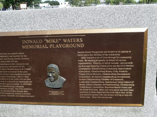 "Donald ""Mike "" Waters Memorial Playground is located at South and Second Street, Chambersburg."