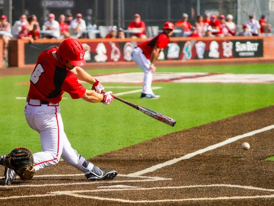 UL's Zach Lafleur hits the ball  as the Ragin' Cajuns take on Wright State at Russo Park Saturday Feb. 24, 2018.