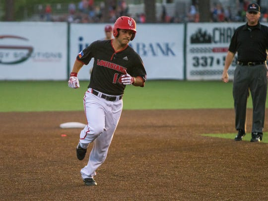 UL's Kennon Fontenot rounds the bases after homering against Troy last Friday night at The Tigue. Fontenot leads the Ragin' Cajuns in RBI with 16 so far this season.