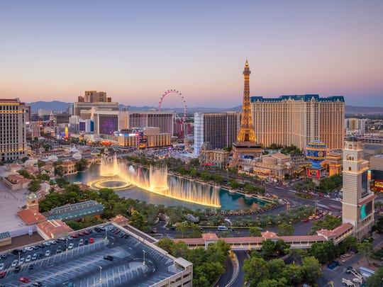 Aerial view of Las Vegas strip.