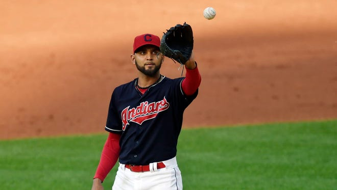 Indians starting pitcher Danny Salazar reacts after giving up a home run in the third inning against the Rays at Progressive Field in Cleveland on May 16, 2017.