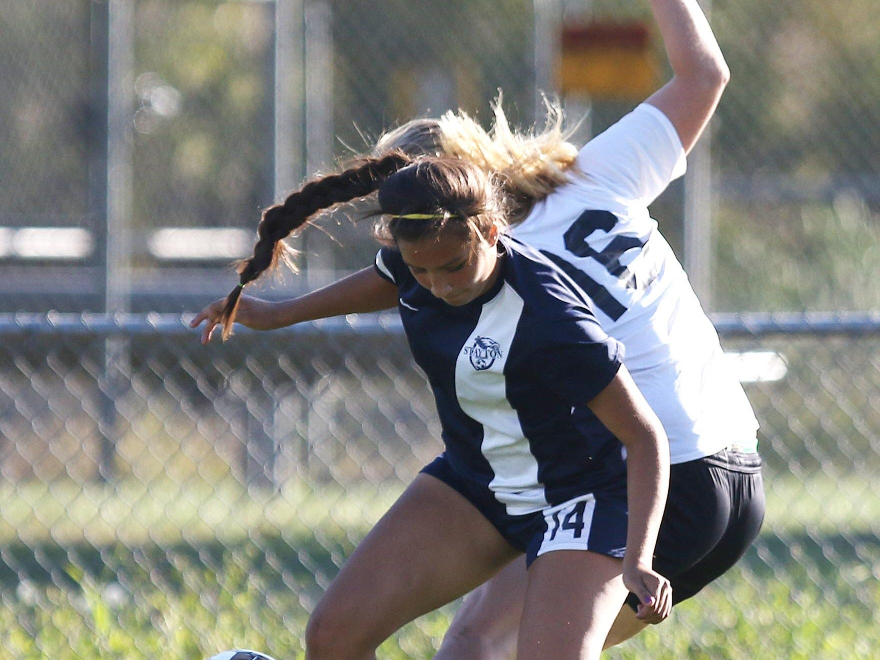 Stayton's Valeria Navarro and Cascade's Halle Wright collide as Cascade defeats Stayton 2-1 in an Oregon West Conference game Thursday in Turner.