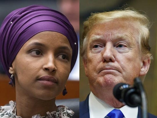 Rep. Ilhan Omar, D-Minn., left, and President Donald