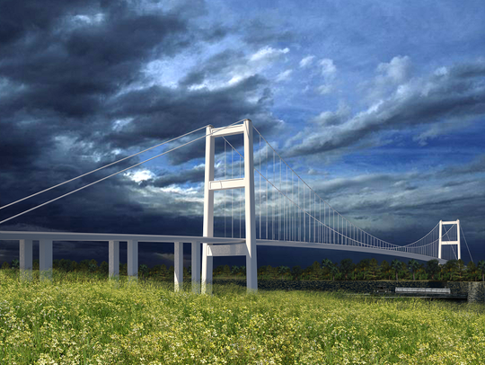 This artist's rendering shows what a suspension bridge