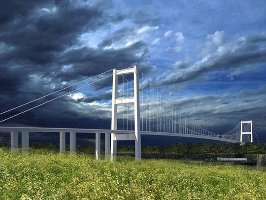 This artist's rendering shows what a suspension bridge
