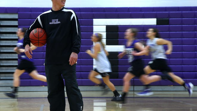 Rumon-Fair Haven grill basketball coach George Sourlis  during practice at Rumson- Fair High School. Wednesday, December 9, 2015. Rumson,NJ. Noah K. Murray-Special for the Asbury Park Press ASB 1216 girls hoops preview