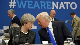 British Prime Minister Theresa May and U.S. President Donald Trump in Brussels on May 25, 2017.